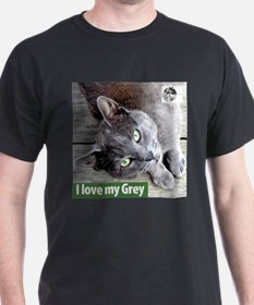 Grey Cat Black T-Shirt