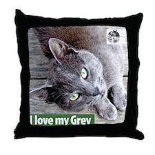 Grey Cat Throw Pillow