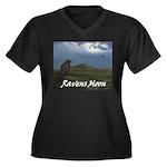 Ravens moon Women's Plus Size V-Neck Dark T-Shirt