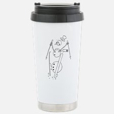 Skiing Snowman Stainless Steel Travel Mug