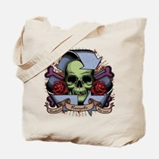 Recycle Skull w/Roses Tote Bag