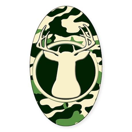 CAMO BUCK Oval Sticker