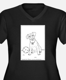 Jack Russell Terrier Women's Plus Size V-Neck Dark