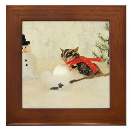 Glider Making Snowman Framed Tile