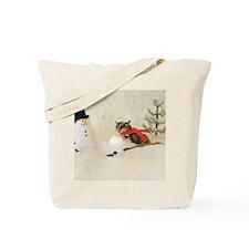 Glider Making Snowman Tote Bag