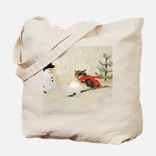 Glider Making Snowman Tote Bag