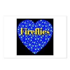 Fireflies Blue Heart Golden F Postcards (Package o
