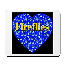 Fireflies Blue Heart Golden F Mousepad
