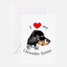 Greeting Card I Heart My Llewellin Setter