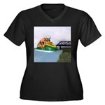 Jetski Women's Plus Size V-Neck Dark T-Shirt