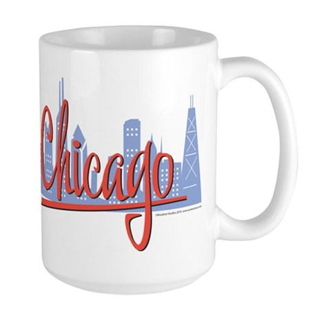 Chicago Skyline and Red Script Large Mug