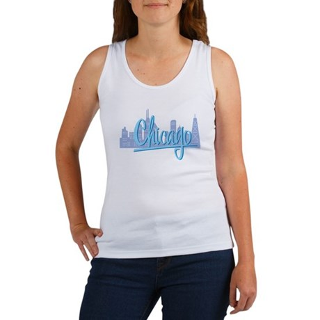 Chicago Skline and Light Blue Script Chicago Women