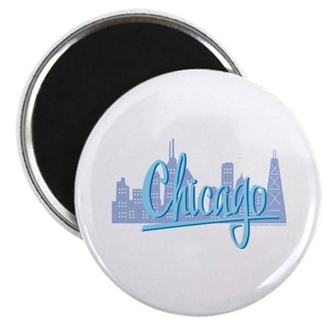 Chicago Skline and Light Blue Script Chicago Magne