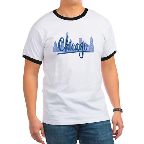 Chicago Skyline and Dark Blue Script Ringer T