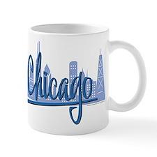 Chicago Skyline and Dark Blue Script Mug