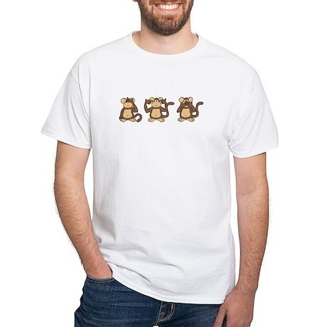 Three Wise Monkeys White T-Shirt
