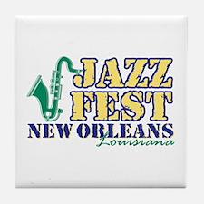 Jazz Fest NOLA sax Tile Coaster