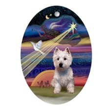 West Highland Terrier Xmas Star Oval Ornament