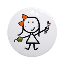 Girl & Knitting Ornament (Round)