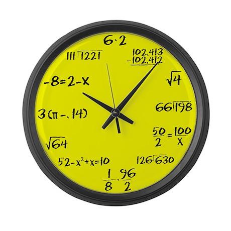 Yellow Faced Math Large Wall Clock