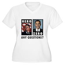 Reagan HERO, Obama ZERO. Any T-Shirt