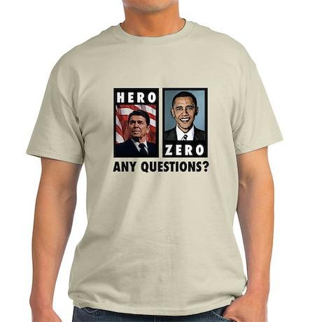 Reagan HERO, Obama ZERO. Any Light T-Shirt
