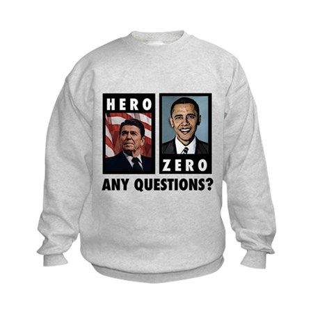 Reagan HERO, Obama ZERO. Any Kids Sweatshirt