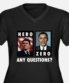 Reagan HERO, Obama ZERO. Any Women's Plus Size V-N