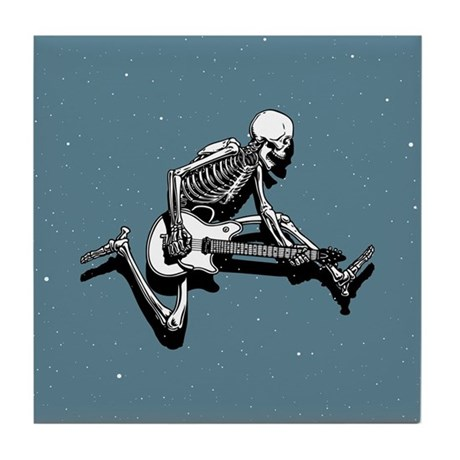 Skeleton Guitarist Jump Tile Coaster