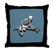 Skeleton Guitarist Jump Throw Pillow