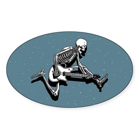 Skeleton Guitarist Jump Oval Sticker