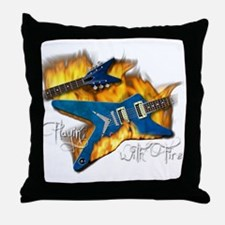 Guitar - Playin with Fire Throw Pillow