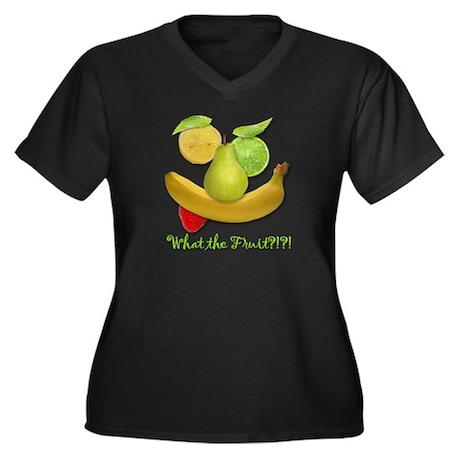 What the Fruit? Women's Plus Size V-Neck Dark T-Sh