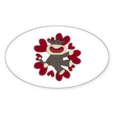 Sock Monkey Love Oval Decal