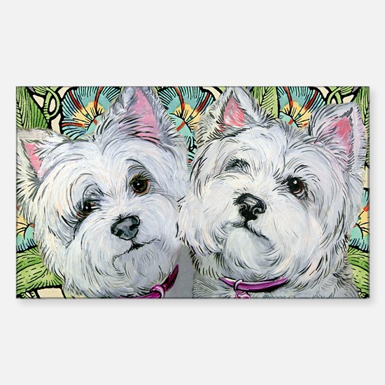 Westie Pair of Pals Rectangle Decal