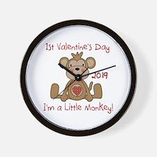 Monkey 1st Valentine Day Wall Clock