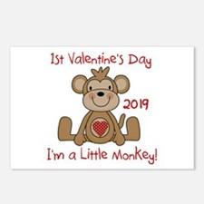 Monkey 1st Valentine Day Postcards (Package of 8)