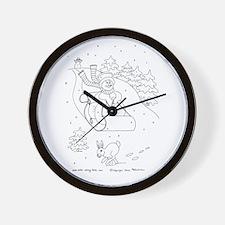 Snowman Sleigh Wall Clock