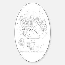 Snowman Sleigh Oval Decal