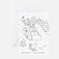 Snowman Sleigh Greeting Cards (Pk of 10)