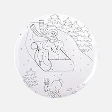 """Snowman Sleigh 3.5"""" Button"""