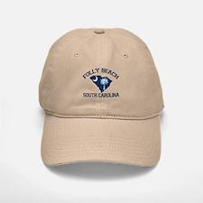 Folly Beach - Map Design Baseball Baseball Cap