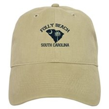 Folly Beach - Map Design Baseball Cap