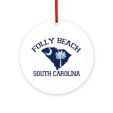 Folly Beach - Map Design Ornament (Round)