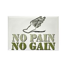 No Pain No Gain Track Rectangle Magnet