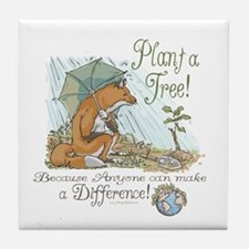 Plant a Tree Fox Tile Coaster
