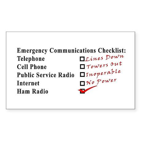 Emergency Comm Checklist Rectangle Sticker