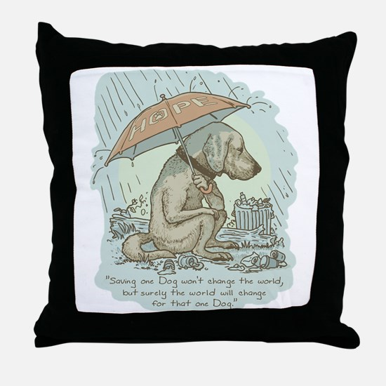 Rescue Dog Quote Throw Pillow