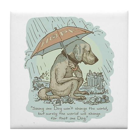 Rescue Dog Quote Tile Coaster