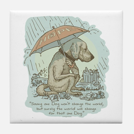 Rescue Dog Quote Tile Coaster